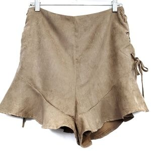 NEW MISSGUIDED Faux Suede Frill Shorts Size 10